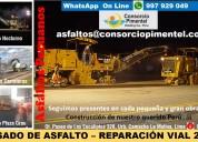 Fresado asfalto reparación vial - bacheos perú