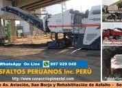 Fresado de asfalto costo x m2 pavimentos perú