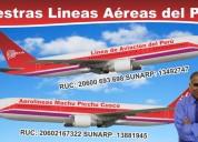 Aerolineas Machu Picchu Cusco, Para los Peruanos.