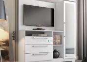 Aparador con panel de tv 1 puerta con espejo