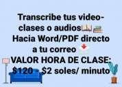 Transcripcion de clases clases virtuales