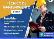Urgente 10 técnicos de mantenimiento- breña