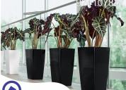Macetas decorativas de fibra de viderio y concreto