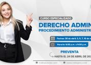 Curso especializado en derecho administrativo