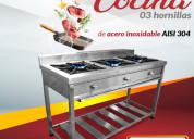 Cocina 03 hornillas acero inoxidable