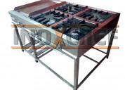 Cocina industrial 4 hornillas con plancha freidora