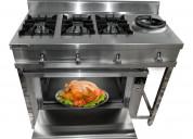 Cocina industrial de 03 quemadores, 1 wok y horno